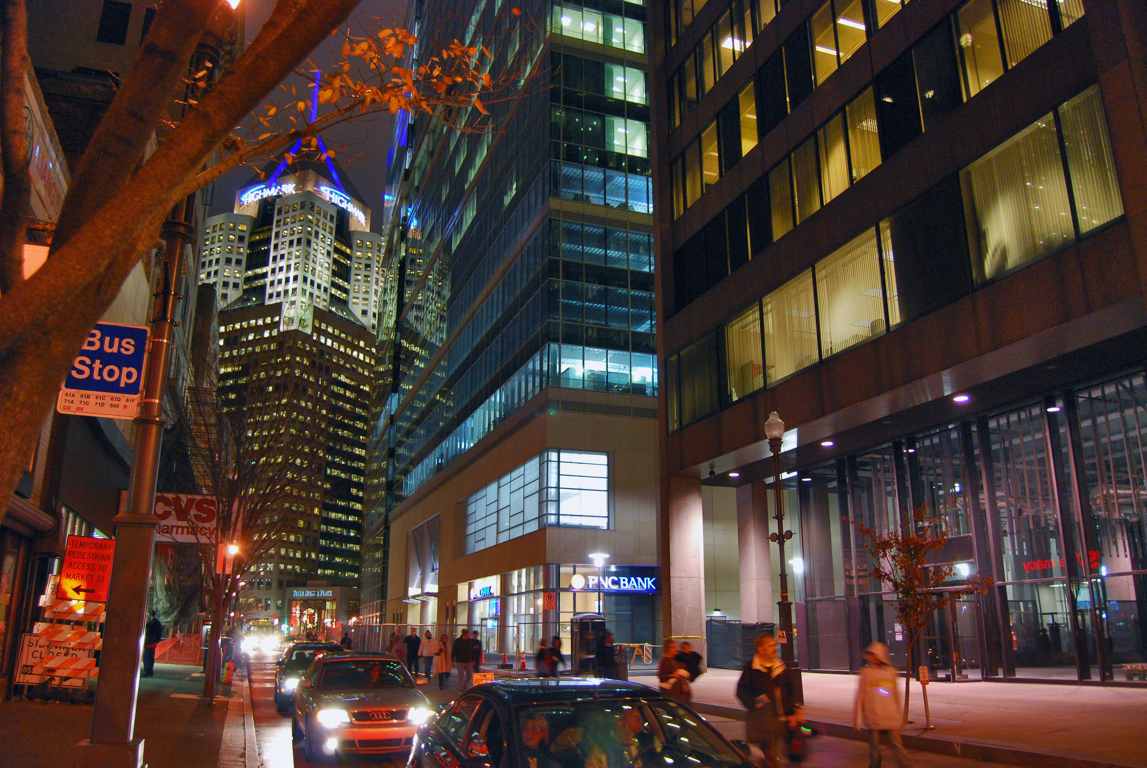 downtown pittsburgh at night 2